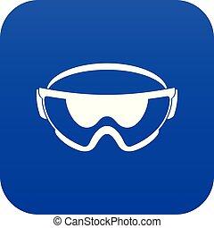 Safety glasses icon digital blue
