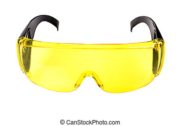 safety glasses - photo yellow protective spectacles on white...