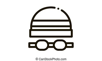safety goggles and hat Icon Animation. black safety goggles and hat animated icon on white background