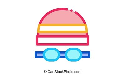 safety goggles and hat Icon Animation. color safety goggles and hat animated icon on white background