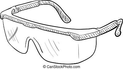 Safety Goggles - Hand-drawn vector drawing of a pair of...