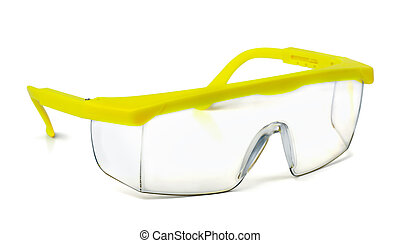 Safety goggles - Plastic safety goggles isolated on white