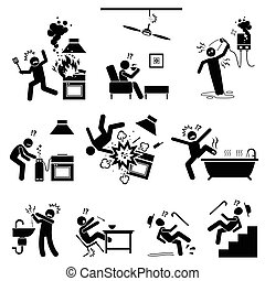 Dangerous appliances and potential risks inside the house. Accident, mishap, and injuries at kitchen, bathroom, and other places in the house. Illustration in stick figures.