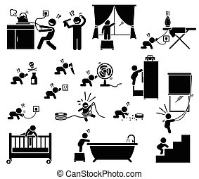 Potential risks and dangerous hazard inside house that can cause serious accident, injury, and harm to baby and toddler. Illustration designed in stick figures.