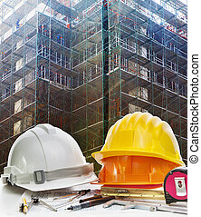 safety helmet and engineering working tool against building...