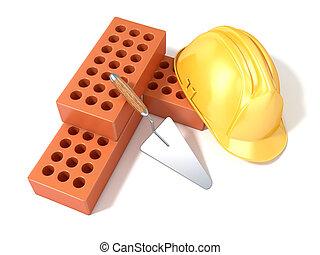 Safety helmet, bricks and trowel