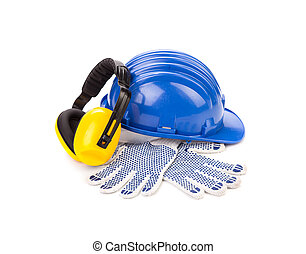 Safety helmet gloves and respirator. Isolated on a white ...