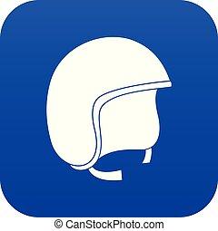 Safety helmet icon digital blue