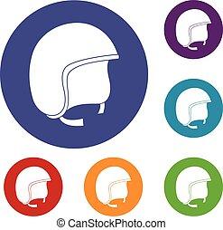Safety helmet icons set