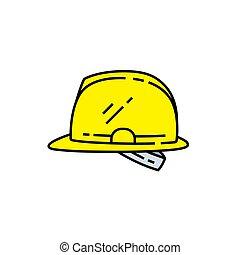 Safety helmet line icon. Yellow hard hat symbol. Vector ...