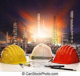 safety helmet on engineer working t