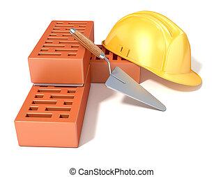Safety helmet with bricks