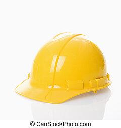 Safety helmet. - Yellow safety hard hat.