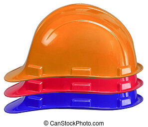 safety helmets on white background