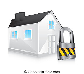 safety house - 3d safety house over white background. vector...