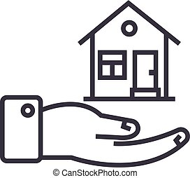 safety house vector line icon, sign, illustration on background, editable strokes