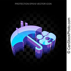 Safety icon: 3d neon glowing Family And Umbrella made of glass, EPS 10 vector.