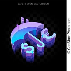 Safety icon: 3d neon glowing Money And Umbrella made of glass, EPS 10 vector.