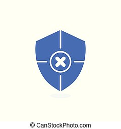 Safety icon, confirmation, shield with a checkmark, protection and security icon with cancel sign. Safety icon and close, delete, remove symbol