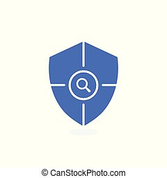 Safety icon, confirmation, shield with a checkmark, protection and security icon with research sign. Safety icon and explore, find, inspect symbol