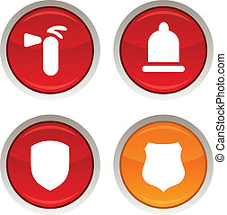Safety icons. - Safety glossy icons. Vector buttons.