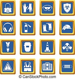 Safety icons set blue