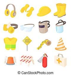 Safety icons set, cartoon style