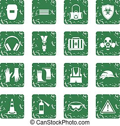Safety icons set grunge