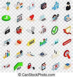 Safety icons set, isometric style