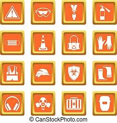 Safety icons set orange