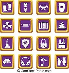 Safety icons set purple