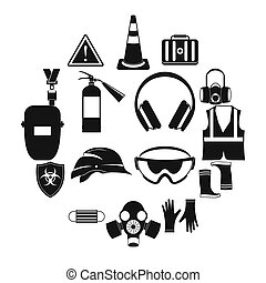 Safety icons set, simple style