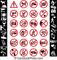 range of prohibition signs. Labeling