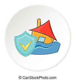 Safety in a flood icon, cartoon style