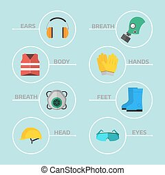 Safety industrial gear tools flat vector illustration body protection worker equipment factory engineer clothing.