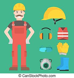 Safety industrial man gear tools flat vector illustration body protection worker equipment factory engineer clothing.