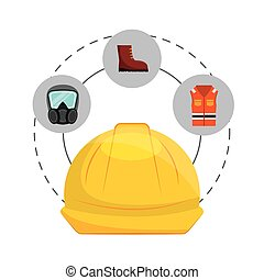 safety industry equipment flat icons vector illustration...