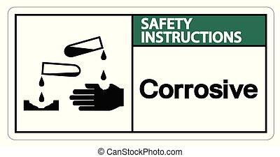 Safety instructions Corrosive Symbol Sign on white...