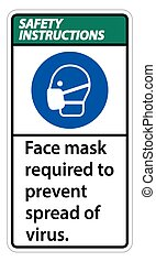 Safety Instructions  Face mask required to prevent spread of virus sign on white background
