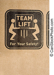 Safety Label on Box - A safety label on a cardboard box ...