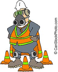 Safety Man - This illustration depicts a worker with a...