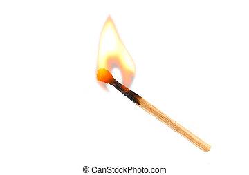 safety-match, urente, isolato, giallo, fire., arancia, fondo, bianco rosso