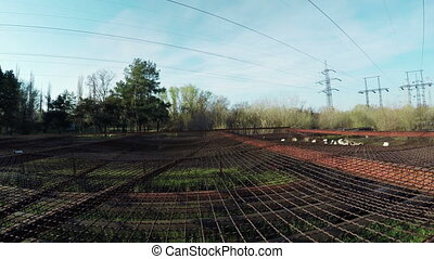 Safety net under power lines - Under LEP protective netting ...