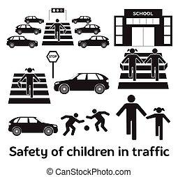 Safety of children in traffic. Children go to school....
