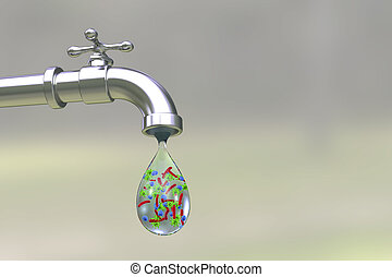 Safety of drinking water concept, 3D illustration showing...