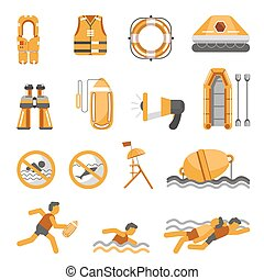 Safety on water vector flat icons set for infographics