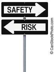 Safety or Risk - Conceptual one way street signs on safety...