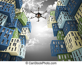 safety or spy - spy drone and abstract 3d town