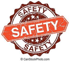 safety orange round grunge stamp on white