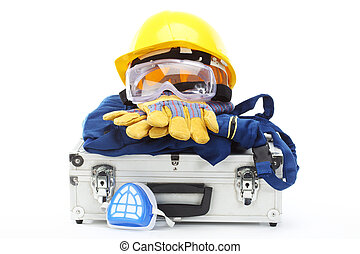 Safety equipment set, close up on white